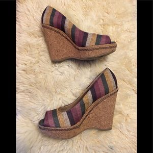 Splendid Striped Cork Platform Peep Toe Sandal 8.5